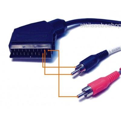 Scart plug to 2x RCA plug stereo audio cable 1,5 m