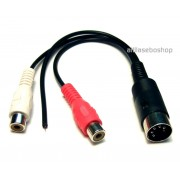 DIN 5 pole plug to 2x RCA socket and GND lead adapter cable 20 cm