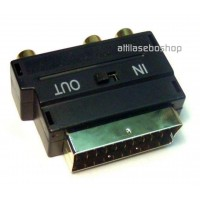 21p scart plug to 3x RCA socket adapter, in-out switch gold plated