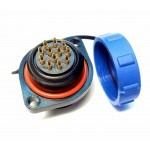 12 pin circular socket SP21; male  400V, 5A with cap WEIPU
