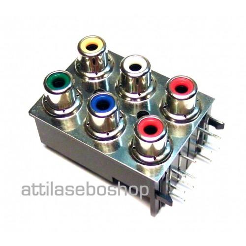 RCA 6 pole socket 90° audio – video connector