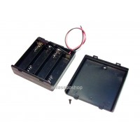 plastic battery holder box 70 x 65 x 20 mm  with switch for 4 x AA batteries with leads